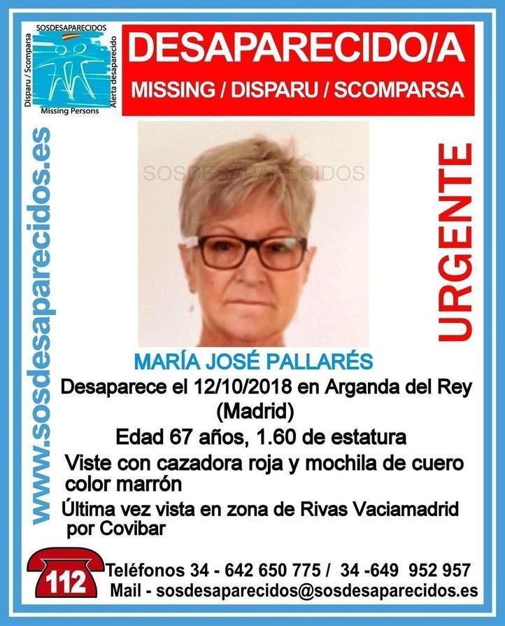 La Guardia Civil y la Policía Local de Arganda han pedido la colaboración ciudadana para localizar a María José Pallarés, vecina de Arganda del Rey y vista por última vez el pasado 12 de.octubre en Rivas.