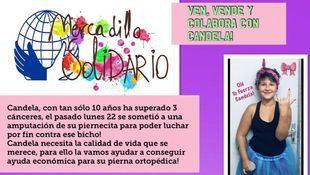 Cartel para el mercadillo solidario de Candela.