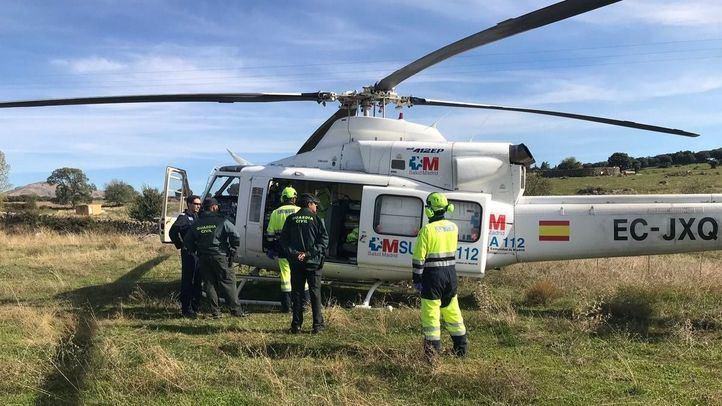 Helicóptero que ha trasladado al herido a La Paz.