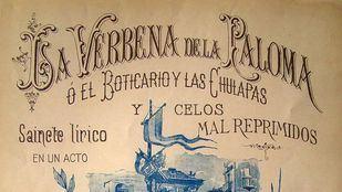Portada del libreto y cartel de la función de La verbena de la Paloma en el Teatro Apolo.
