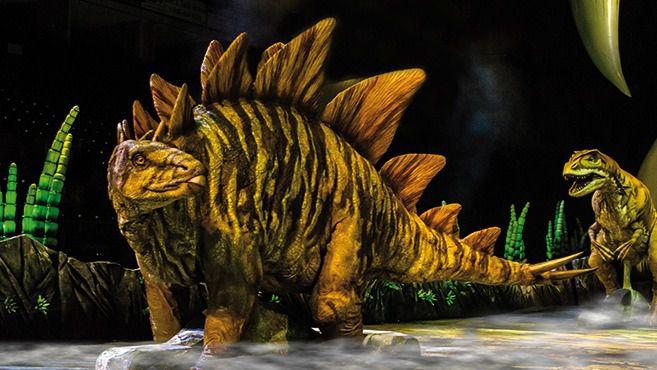 Algunos de los dinosaurios del espectáculo.