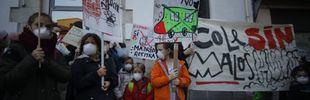 Mascarillas y pancartas para pedir el inicio de Madrid Central