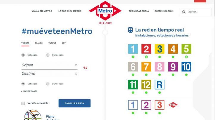 Nueva web del Metro de Madrid.