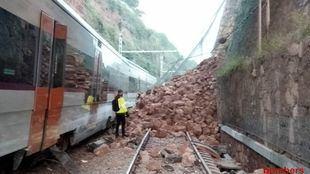 Desprendimiento que ha causado el descarrilamiento del tren de Vacarisses