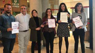 Diputados de Podemos con Clara Serra, la portavoz, al frente.