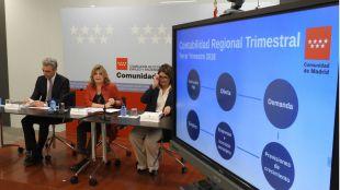 La consejera de Economía, Empleo y Hacienda de la Comunidad de Madrid, Engracia Hidalgo, presenta los datos de Contabilidad Regional Trimestral del tercer trimestre de 2018.