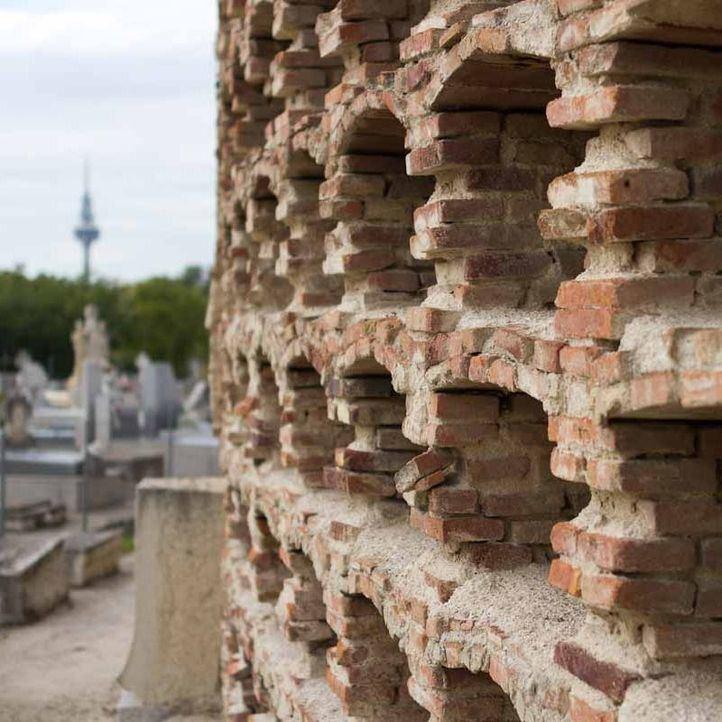 Huesos humanos y esqueletos al aire en el cementerio de La Almudena