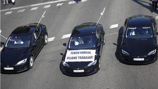 Manifestación de los VTCs en el Paseo de la Castellana.