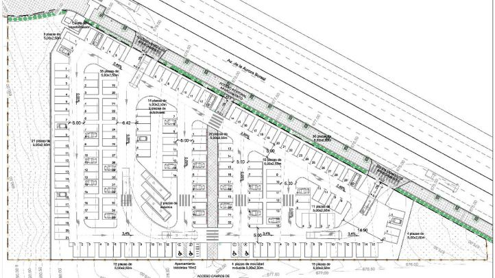 Planos de la pavimentación del aparcamiento de Valdebernardo.