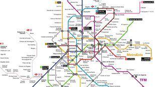 Mapa de las líneas y estaciones del Metro de Madrid.