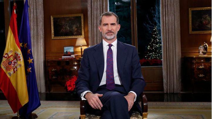 Su majestad el Rey Felipe VI durante el discurso de Navidad.