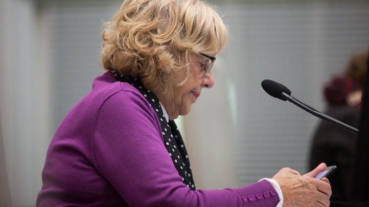 La alcaldesa, durante el Pleno celebrado el pasado viernes, horas antes de su accidente.