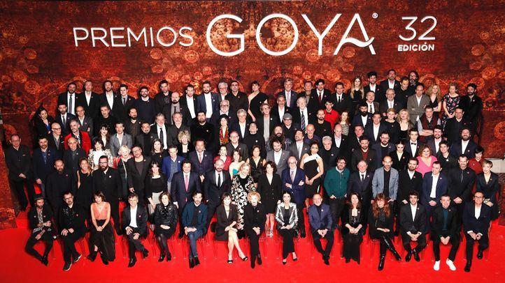 Foto de familia de los nominados a los Premios Goya 2018