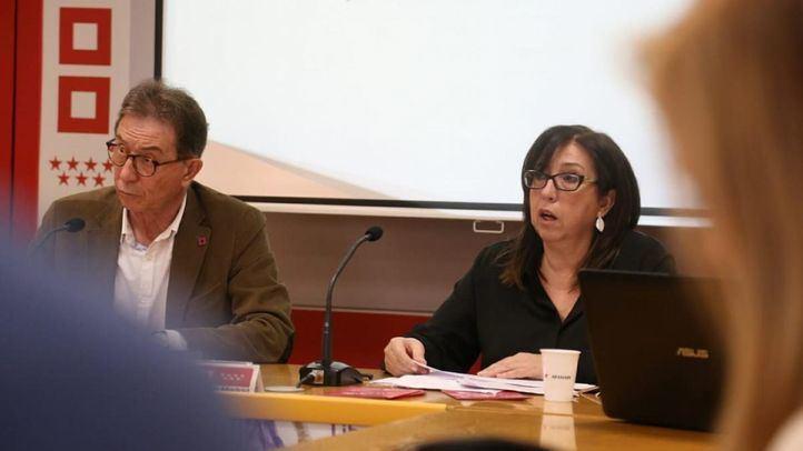 El secretario general de CCOO de Madrid, Jaime Cedrún; y la secretaria de Acción Sindical de la organización, Asunción Servant. en rueda de prensa.