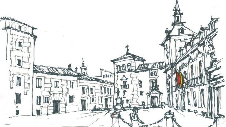 Ilustración de la Plaza de la Villa dentro del libro '50 plazas del viejo Madrid'.