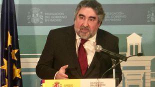 El delegado del Gobierno en Madrid, José Manuel Rodríguez Uribes, en la rueda de prensa ofrecida para explicar la parte madrileña de los Presupuestos Generales del Estado (PGE).