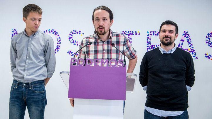Pablo Iglesias, Íñigo Errejón y Ramón Espinar en rueda de prensa. Foto de archivo.