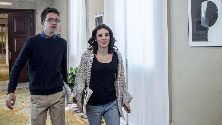 Irene Montero e Íñigo Errejón antes de una junta de portavoces del partido.
