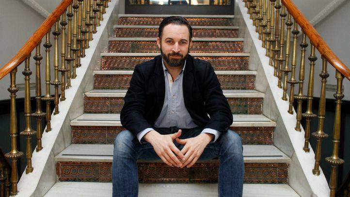 El presidente de Vox, Santiago Abascal, en la sede de Madridiario. (Archivo)