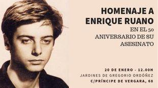 El Ayuntamiento de Madrid homenajeará a Enrique Ruano con una placa el edificio donde fue asesinado.