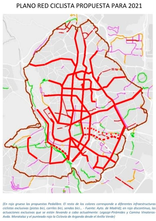 Parte de la propuesta de Pedalibre para crear una Red Ciclista en Madrid para 2021.