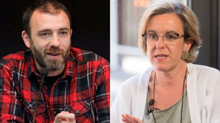 Los concejales Nacho Murgui(Ahora Madrid) y Purificación Causapié(PSOE).