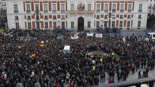 Los taxistas, en la Puerta del Sol.
