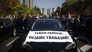 Manifestación de los VTC en el Paseo de la Castellana.