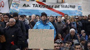 Una de las concentraciones de los taxistas en Sol durante la huelga.