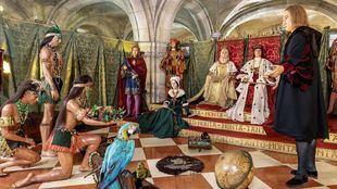 Una de las escenas recreadas en el Museo es la que representa el recibimiento que hicieron los Reyes Católicos a Cristóbal Colón, al regreso de su primer viaje americano, en el Salón Tinell de Barcelona el 24 de Abril de 1493. Precisamente la figura de Colón fue la primera en colocarse en el Museo de Cera en 1972