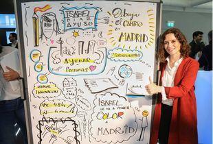 Isabel Díaz Ayuso en un encuentro con eurodiputados del PPE.