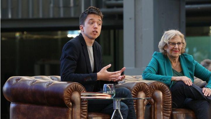 Íñigo Errejón y Manuela Carmena se han reunido en La Nave con los simpatizantes de Más Madrid.