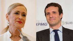 La expresidenta de la Comunidad de Madrid, Cristina Cifuentes, y el presidente del PP, Pablo Casado.