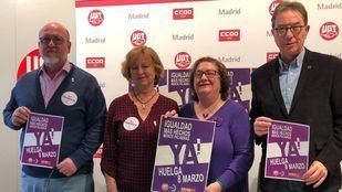 Rueda de prensa de CCOO y UGT Madrid sobre la huelga feminista del 8 de marzo.