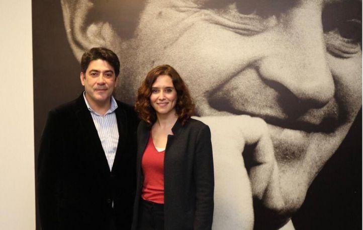 El alcalde de Alcorcón, David Pérez, junto a la candidata del PP a la Comunidad, Isabel Díaz Ayuso.