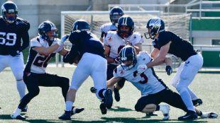 Partido de la cuarta jornada de la Liga Nacional de Fútbol Americano LNFA serie A entre el Santiago Black Ravens y el LG Oled Blak Demons Las Rozas.