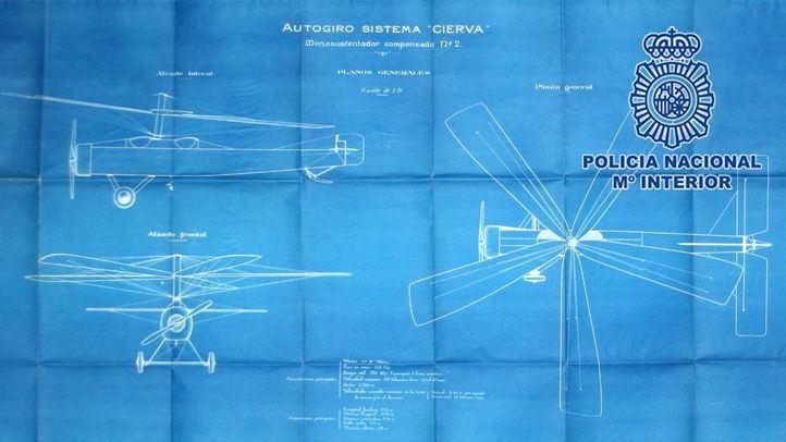 La Policía recupera la documentación del autogiro de Juan de la Cierva