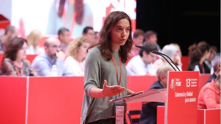 Sara Hernández durante un congreso del PSOE-M.