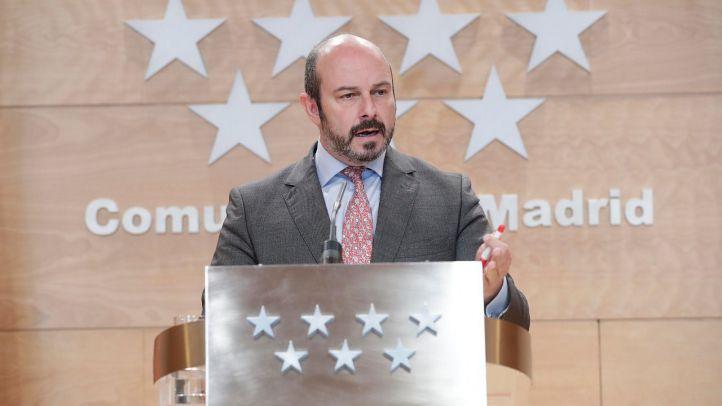 El vicepresidente del Gobierno, Pedro Rollán, en la rueda de prensa posterior al Consejo de Gobierno.