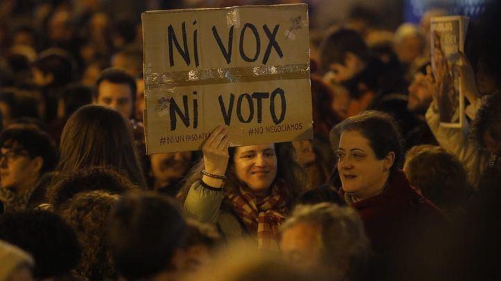 Concentración feminista ¡Ni un paso atrás en igualdad!, el pasado 15 de enero, ante la irrupción de Vox en el Parlamento de Andalucía.