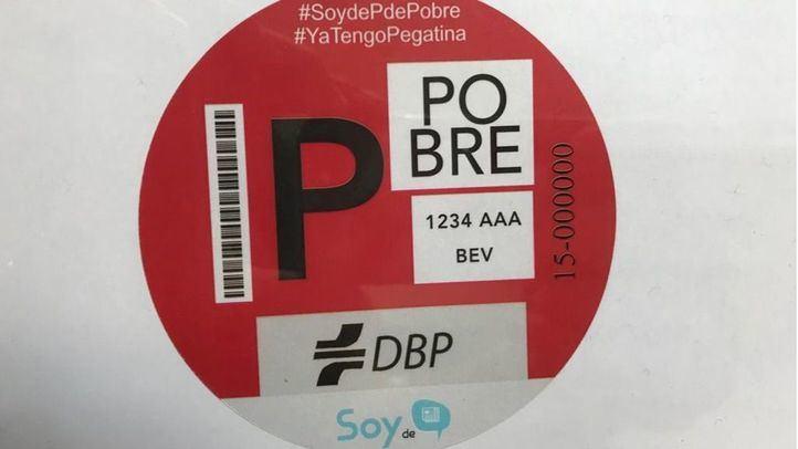 Pegatina distribuida por la Plataforma de Afectados por Madrid Central en protesta de la gran APR de Centro.