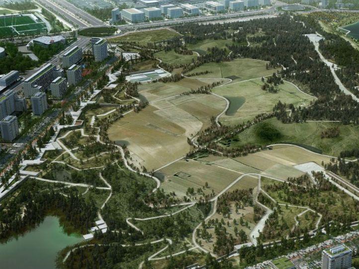 Vista aérea del Parque Central de Valdebebas.
