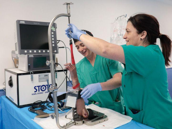 Dos técnicas preparan en el CDC un curso de artrosis de muñeca en el que participan cirujanos.