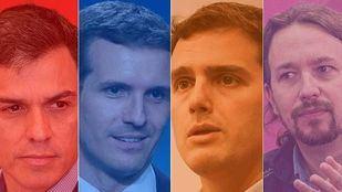 Mosaico con los líderes de los principales partidos políticos.