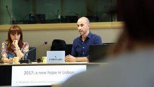 Ricardo Moreira, concejal en Lisboa por el Bloco de Esquerda, en las jornadas 'Construyendo redes municipalistas desde Europa' celebradas en Bruselas.