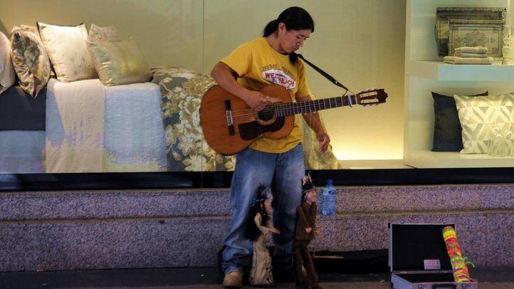 Un músico callejero en Madrid