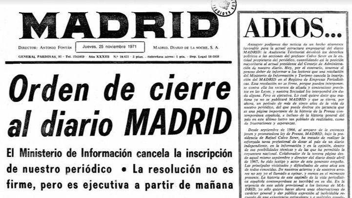 Portada del Diario Madrid, en su último número.