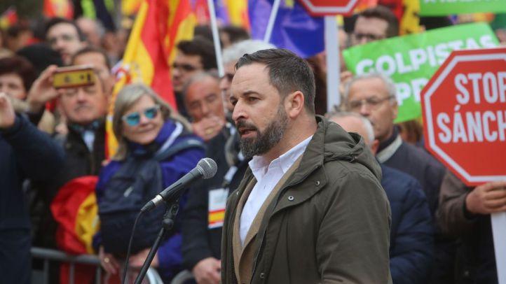 Santiago Abascal, durante la manifestación en Colón 'Por una España unida'.