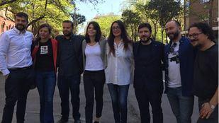 Isabel Serra, Sol Sánchez y Raúl Camargo han intervenido este sábado en declaraciones a los medios sobre la nueva alianza entre Podemos y Madrid en Pie-IU.