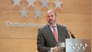 El presidente en funciones, Pedro Rollán, en la rueda de prensa posterior al Consejo de Gobierno.